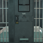 Cell door with closed shutter